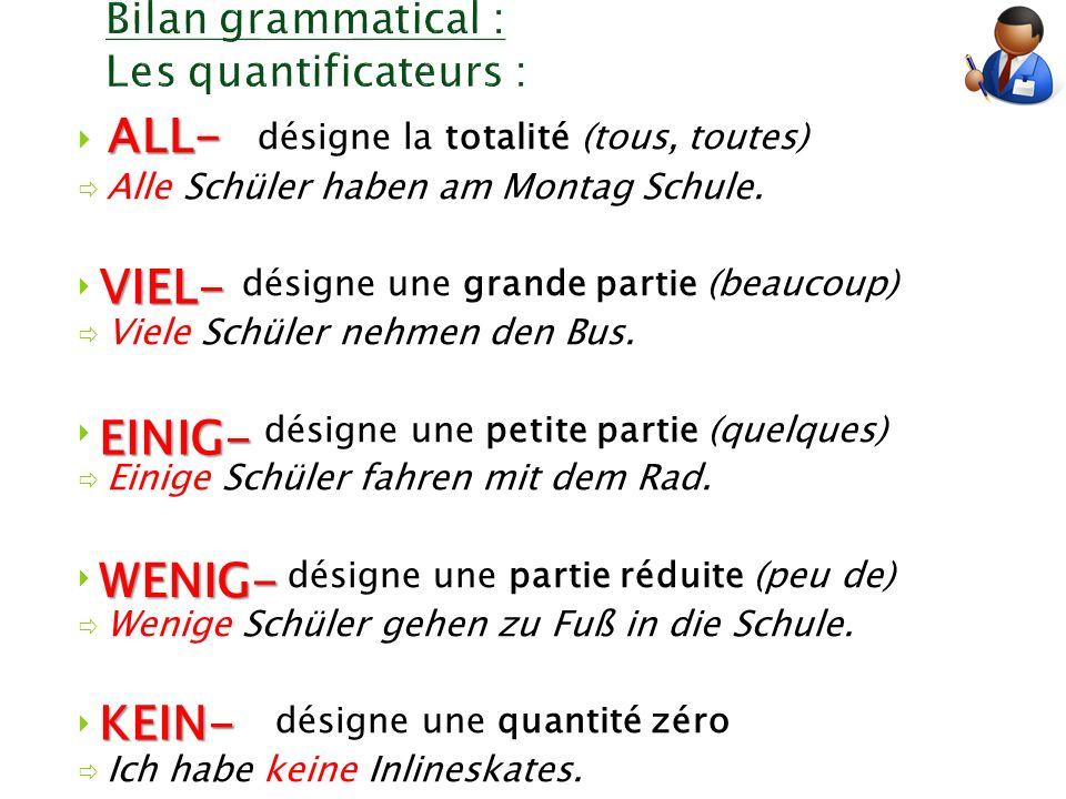 Bilan grammatical : Les quantificateurs :