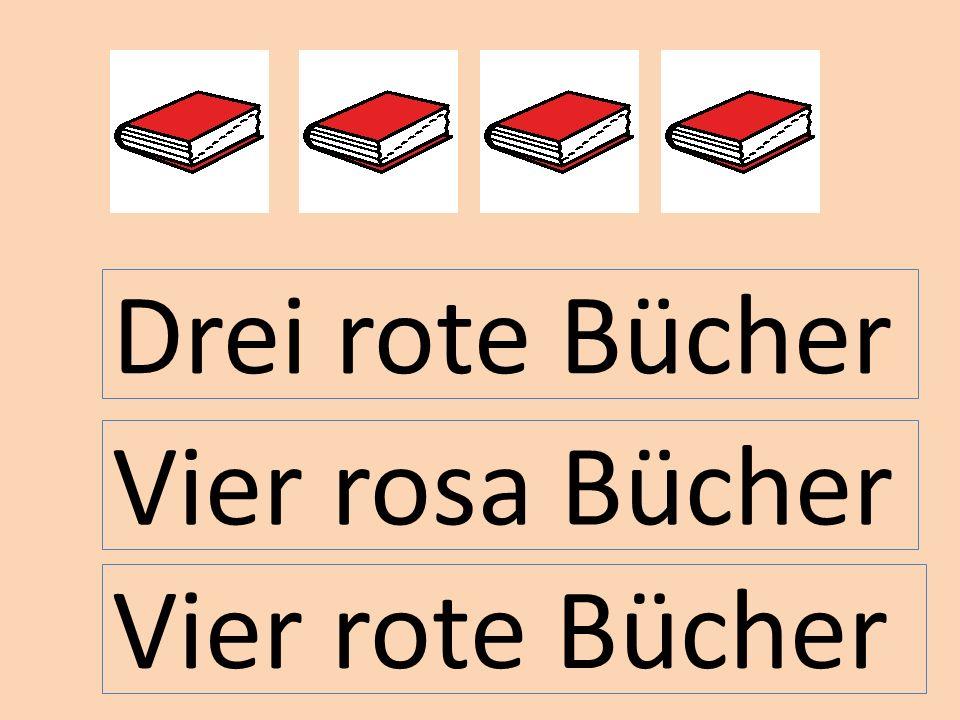Drei rote Bücher Vier rosa Bücher Vier rote Bücher