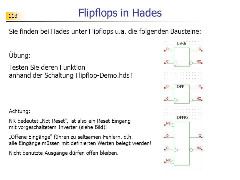 Flipflops in Hades 113. Sie finden bei Hades unter Flipflops u.a. die folgenden Bausteine: Übung: