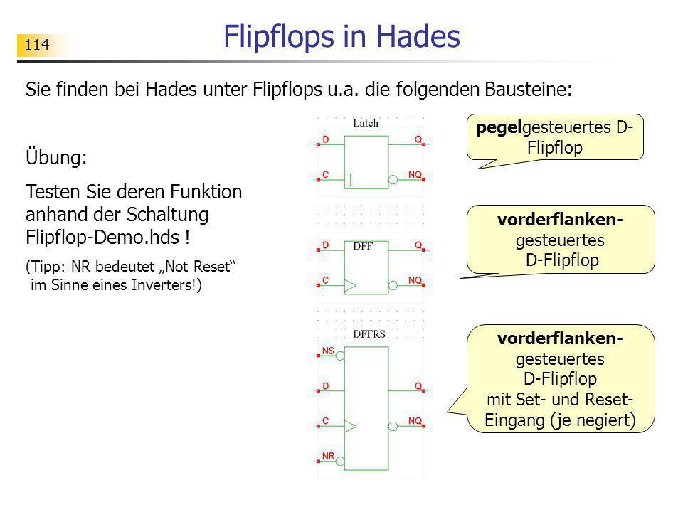 Flipflops in Hades 114. Sie finden bei Hades unter Flipflops u.a. die folgenden Bausteine: Übung:
