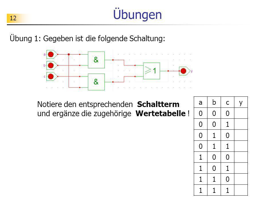 Übungen 12. Übung 1: Gegeben ist die folgende Schaltung: Notiere den entsprechenden Schaltterm und ergänze die zugehörige Wertetabelle !