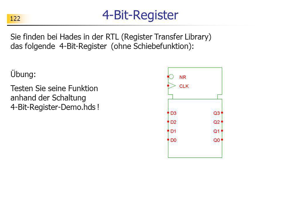 4-Bit-Register 122. Sie finden bei Hades in der RTL (Register Transfer Library) das folgende 4-Bit-Register (ohne Schiebefunktion):