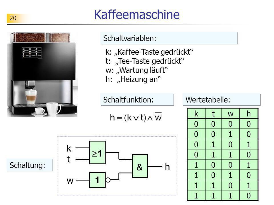 Kaffeemaschine k 1 t h & w 1 Schaltvariablen: