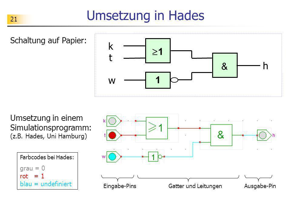 Umsetzung in Hades k 1 t h & w 1 Schaltung auf Papier:
