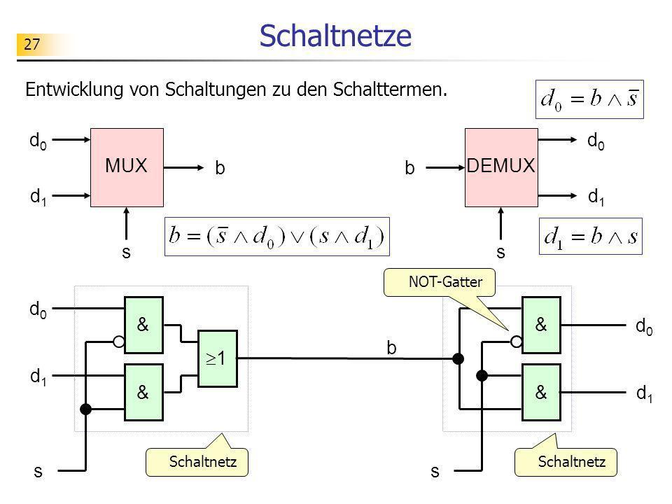 Schaltnetze Entwicklung von Schaltungen zu den Schalttermen. d0 d0 MUX