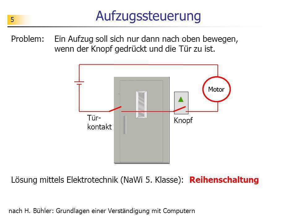 Aufzugssteuerung 5. Problem: Ein Aufzug soll sich nur dann nach oben bewegen, wenn der Knopf gedrückt und die Tür zu ist.