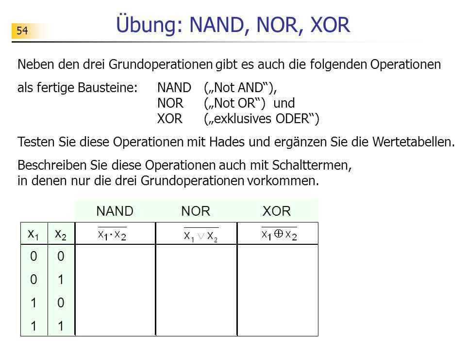 Übung: NAND, NOR, XOR 54. Neben den drei Grundoperationen gibt es auch die folgenden Operationen.