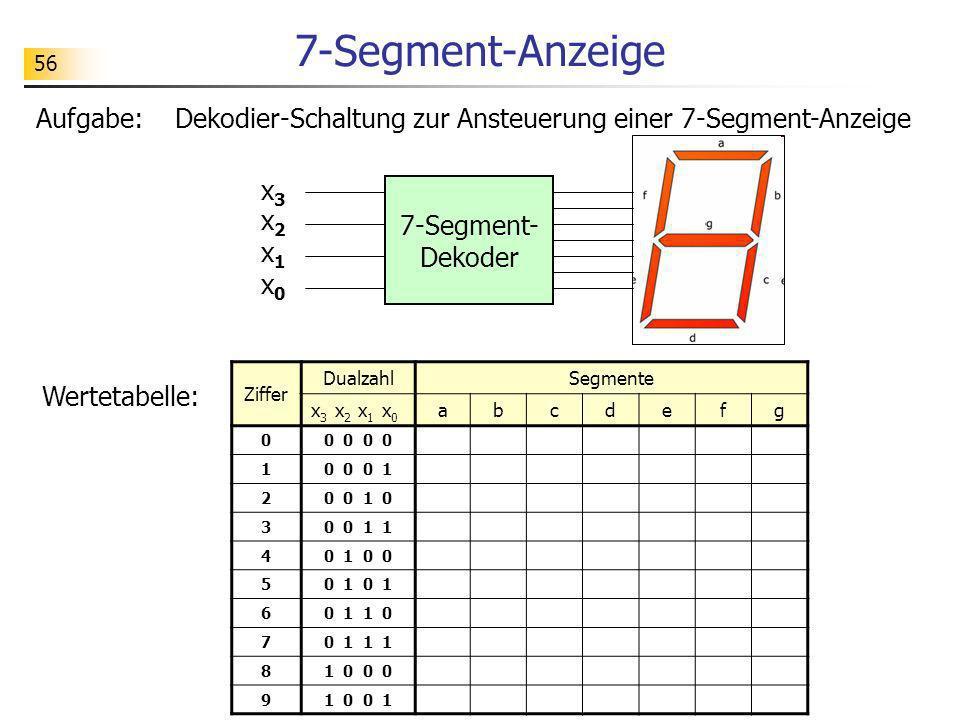 7-Segment-Anzeige 56. Aufgabe: Dekodier-Schaltung zur Ansteuerung einer 7-Segment-Anzeige. x3.