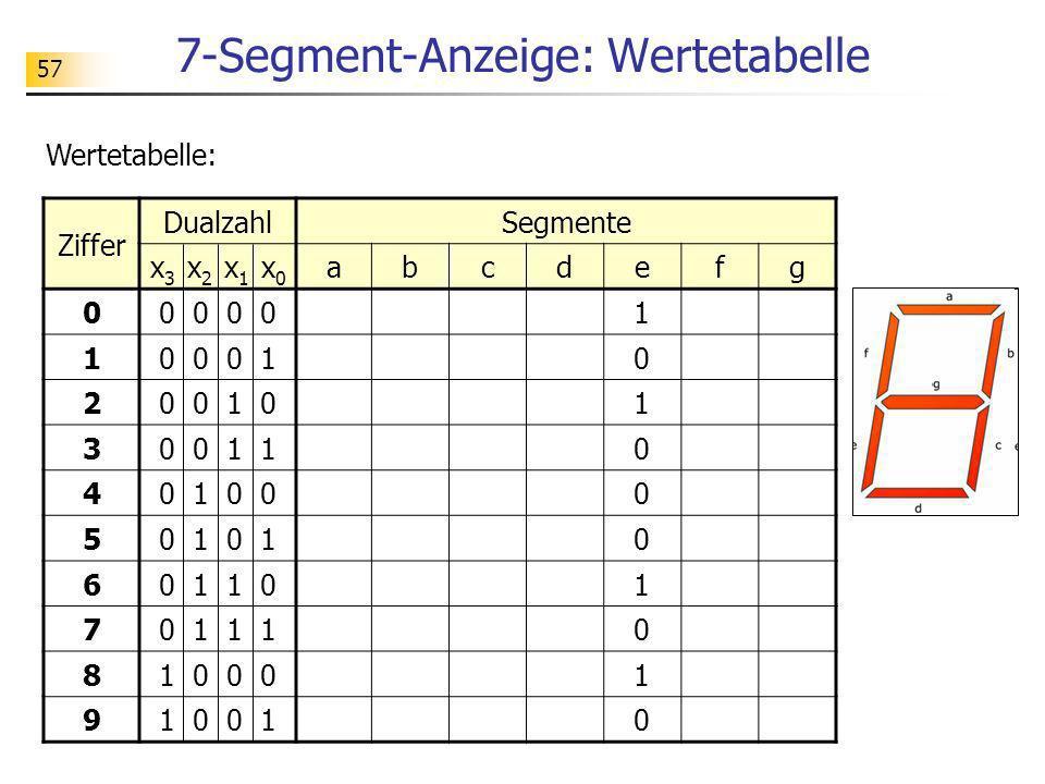 7-Segment-Anzeige: Wertetabelle