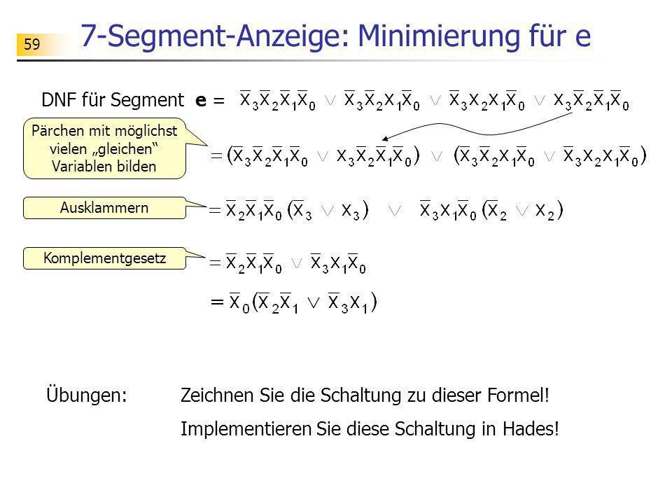 7-Segment-Anzeige: Minimierung für e