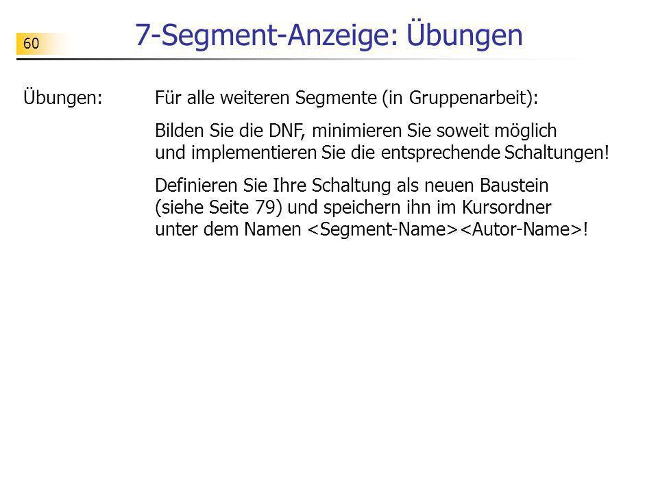 7-Segment-Anzeige: Übungen