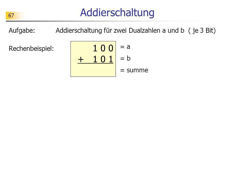 Addierschaltung 67. Aufgabe: Addierschaltung für zwei Dualzahlen a und b ( je 3 Bit) Rechenbeispiel: