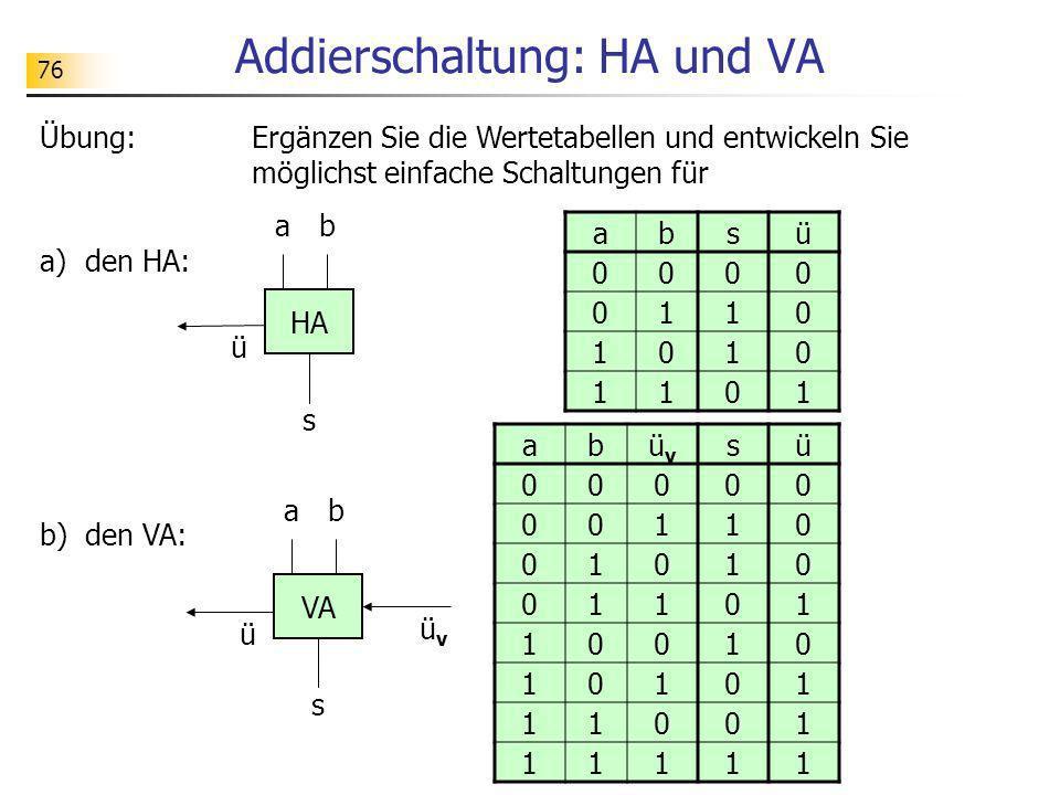 Addierschaltung: HA und VA