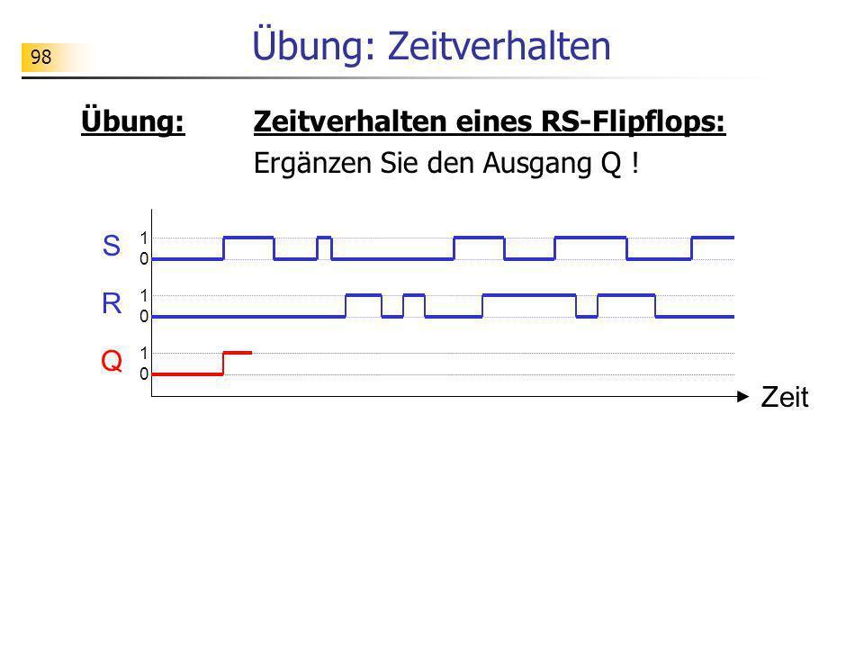 Übung: Zeitverhalten Übung: Zeitverhalten eines RS-Flipflops: