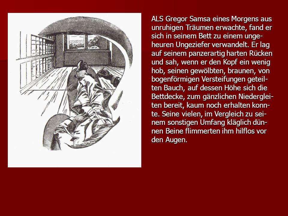 ALS Gregor Samsa eines Morgens aus unruhigen Träumen erwachte, fand er sich in seinem Bett zu einem unge-heuren Ungeziefer verwandelt.