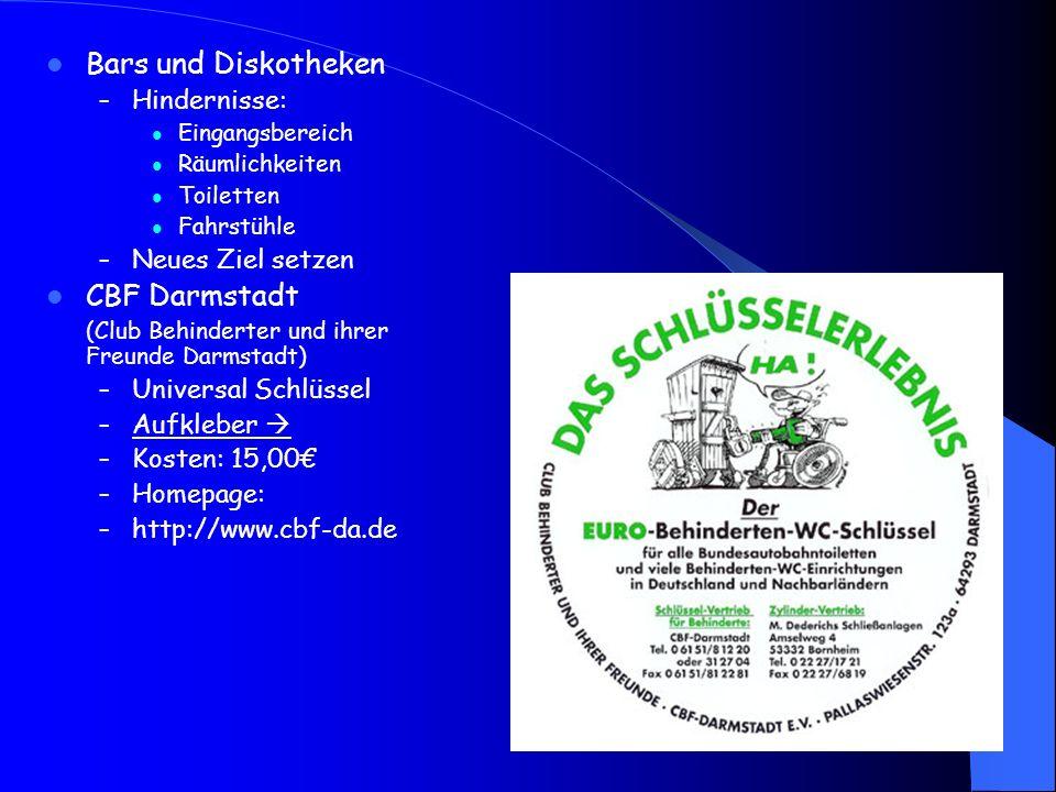 Bars und Diskotheken CBF Darmstadt Hindernisse: Neues Ziel setzen