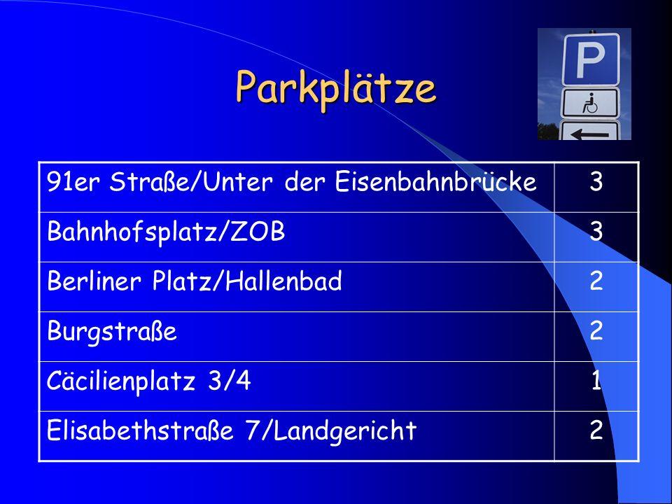 Parkplätze 91er Straße/Unter der Eisenbahnbrücke 3 Bahnhofsplatz/ZOB