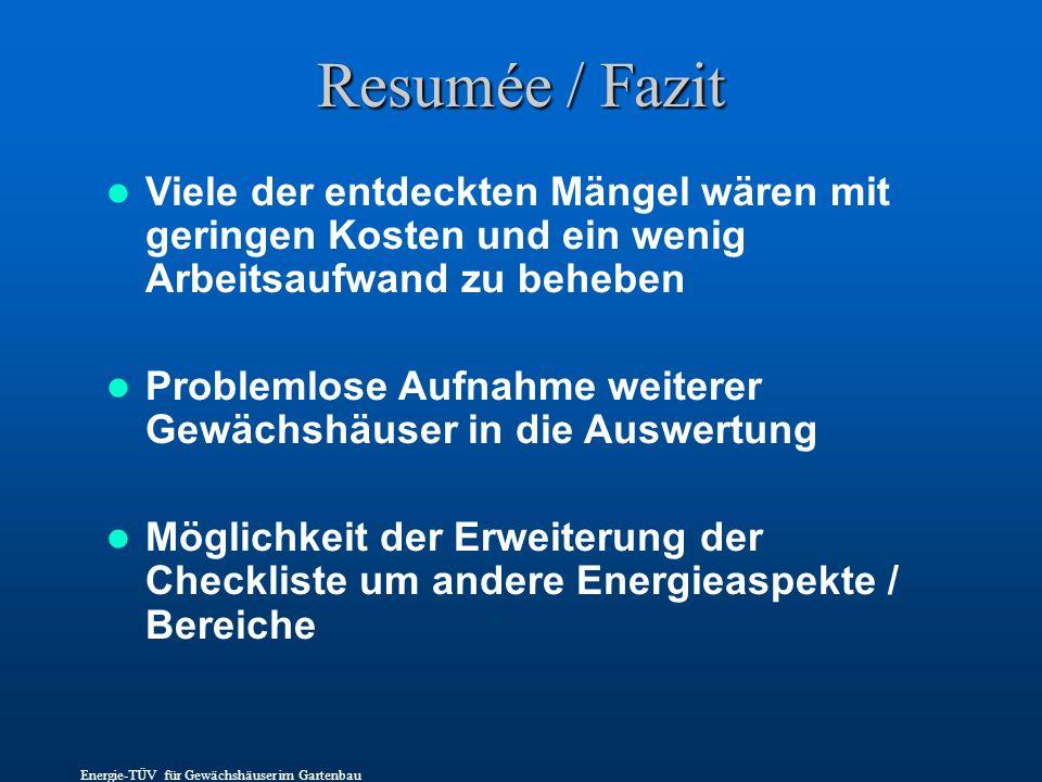 Resumée / Fazit Viele der entdeckten Mängel wären mit geringen Kosten und ein wenig Arbeitsaufwand zu beheben.