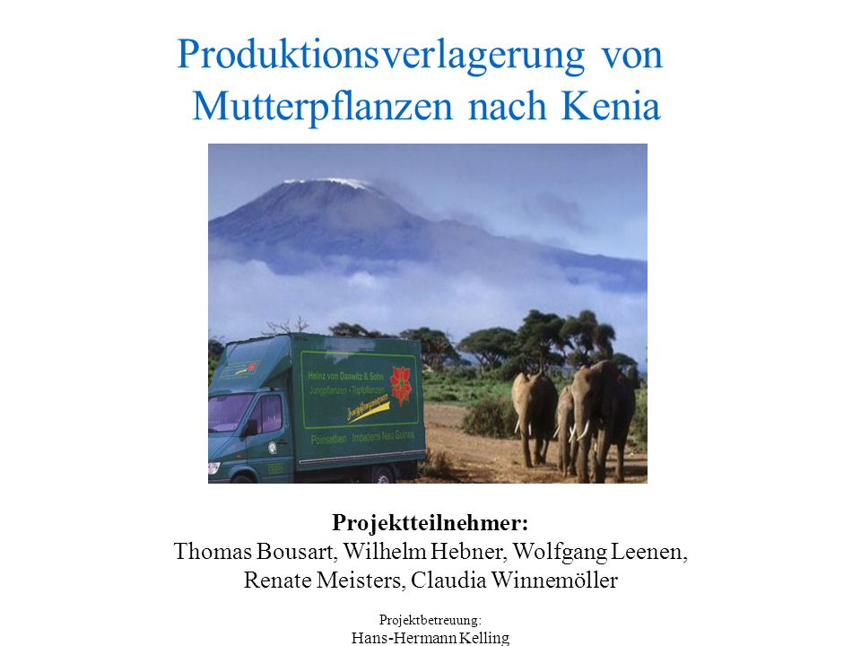Produktionsverlagerung von Mutterpflanzen nach Kenia