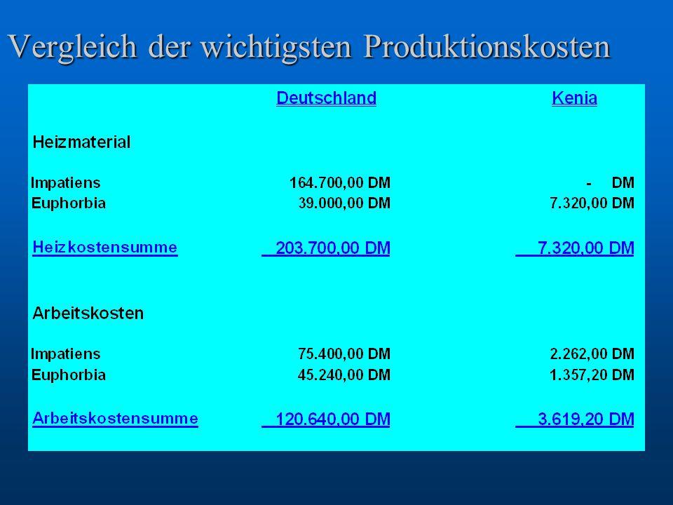 Vergleich der wichtigsten Produktionskosten
