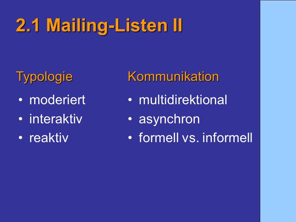 2.1 Mailing-Listen II Typologie Kommunikation moderiert interaktiv