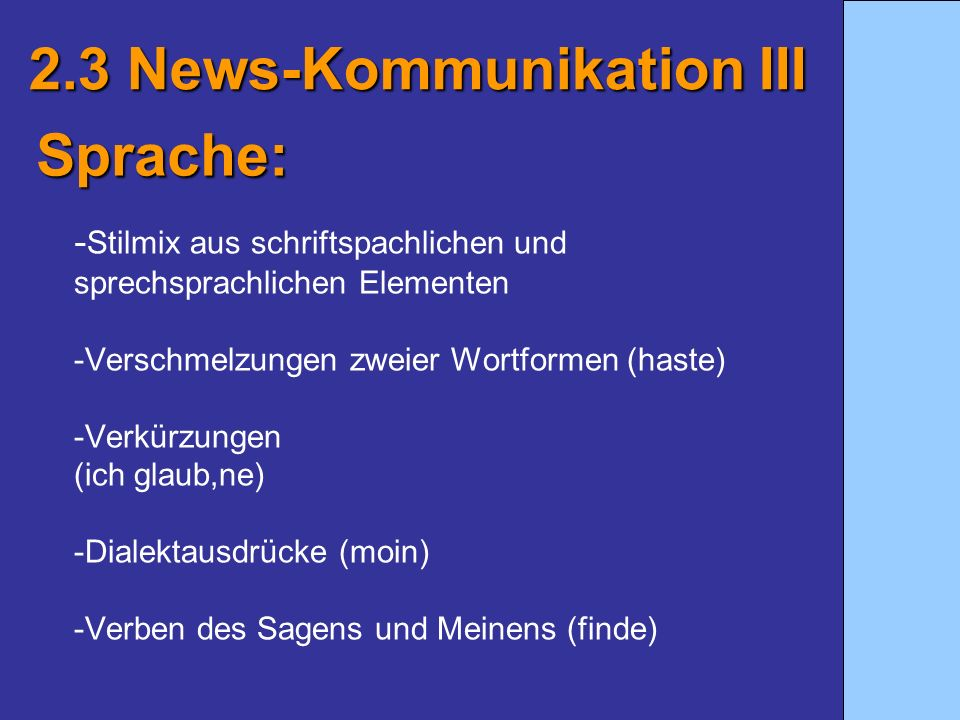 2.3 News-Kommunikation III Sprache: