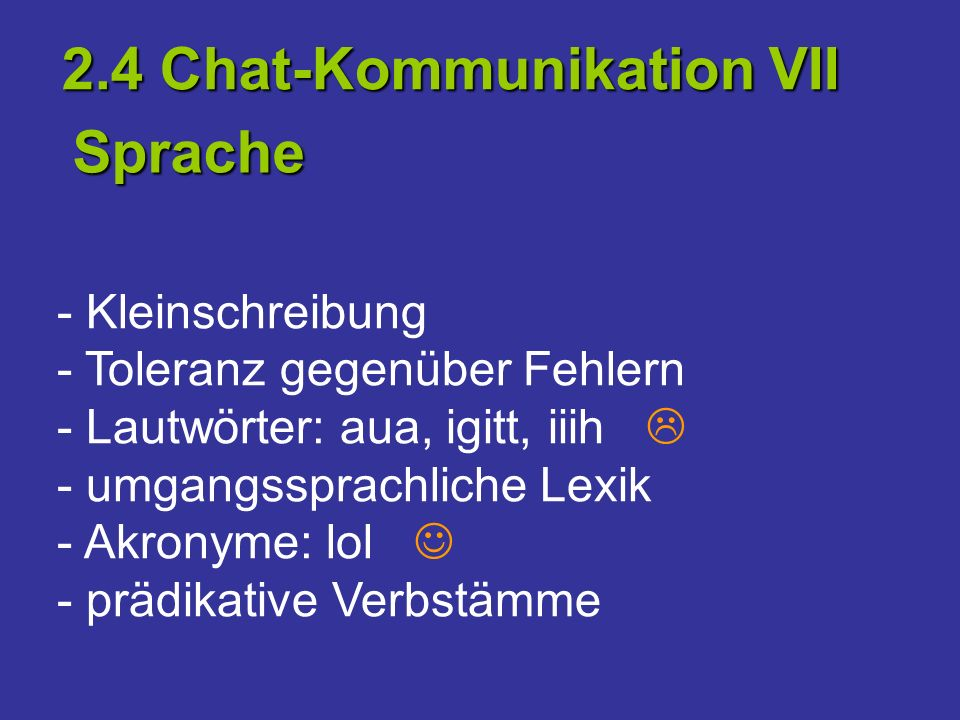 2.4 Chat-Kommunikation VII Sprache