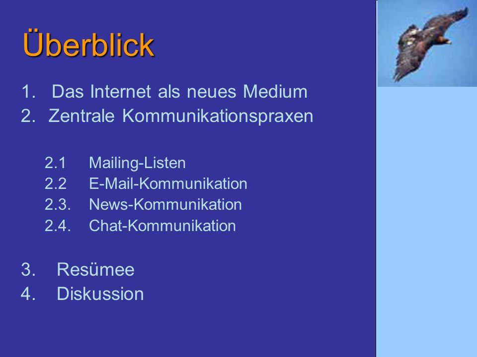 Überblick 1. Das Internet als neues Medium