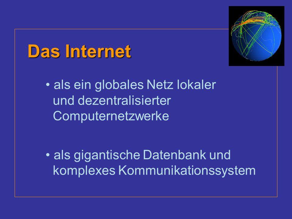 Das Internet als ein globales Netz lokaler und dezentralisierter Computernetzwerke.