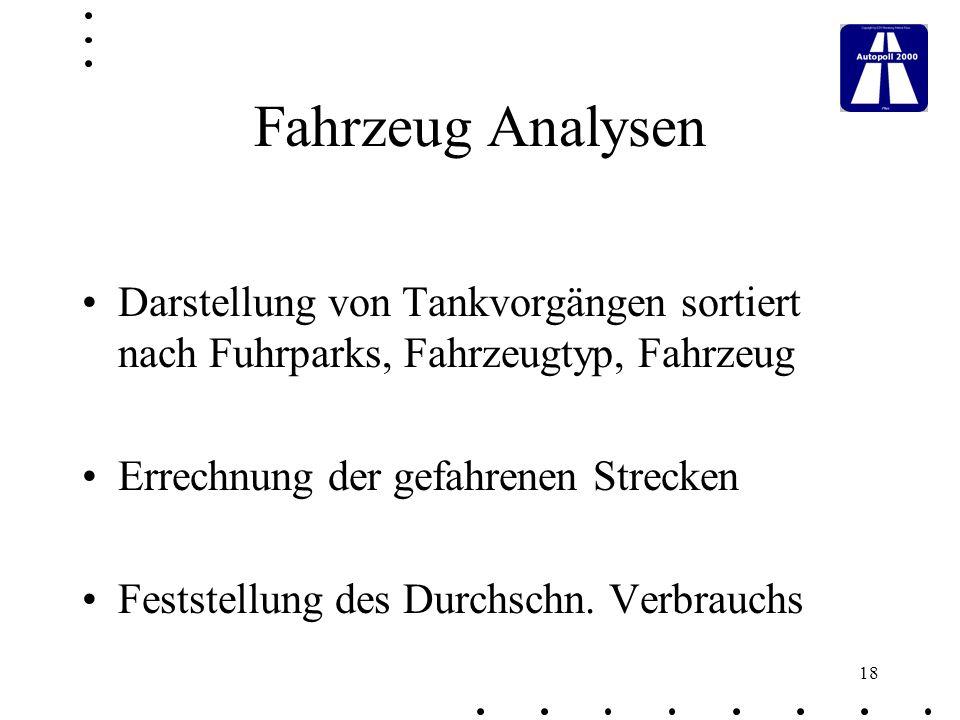 Fahrzeug Analysen Darstellung von Tankvorgängen sortiert nach Fuhrparks, Fahrzeugtyp, Fahrzeug. Errechnung der gefahrenen Strecken.
