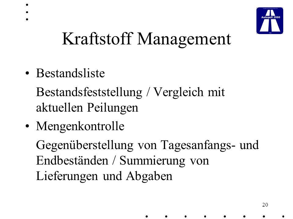 Kraftstoff Management