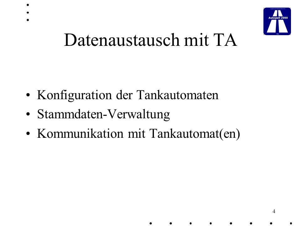 Datenaustausch mit TA Konfiguration der Tankautomaten