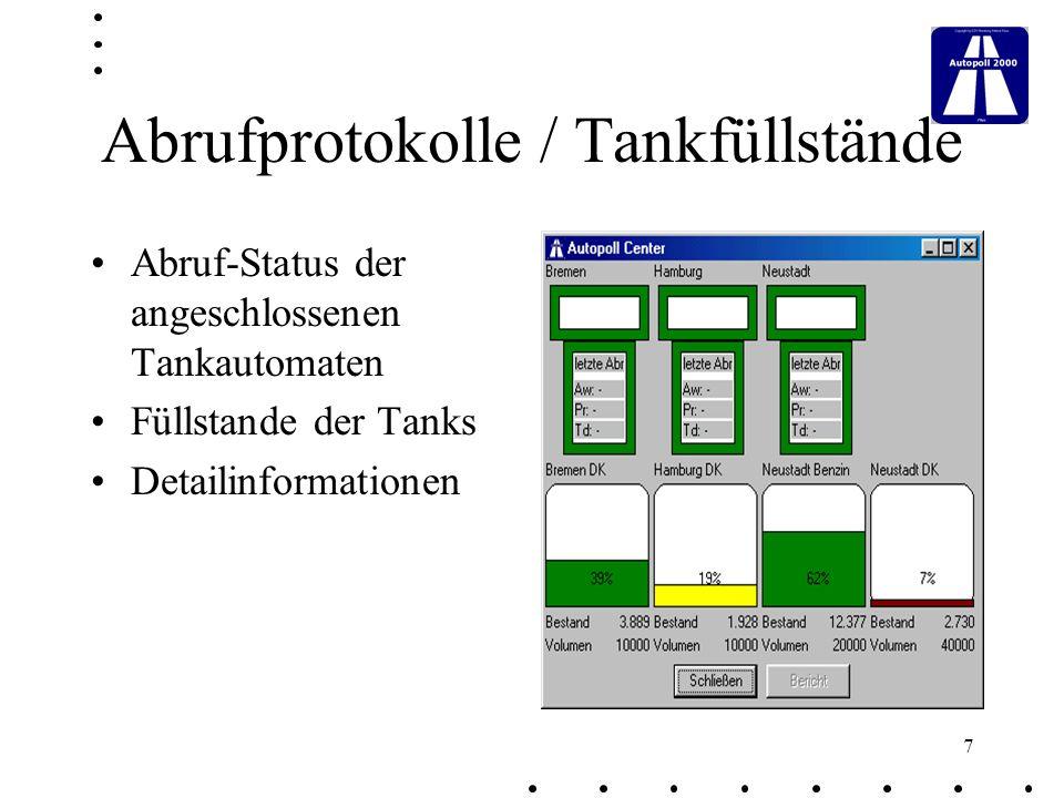 Abrufprotokolle / Tankfüllstände