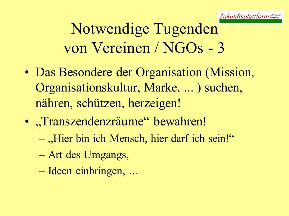 Notwendige Tugenden von Vereinen / NGOs - 3