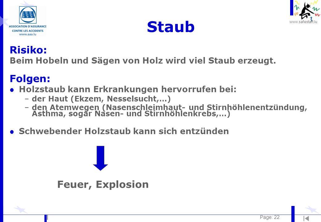 Staub Risiko: Folgen: Feuer, Explosion