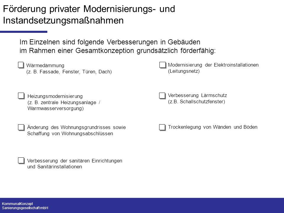 Förderung privater Modernisierungs- und Instandsetzungsmaßnahmen