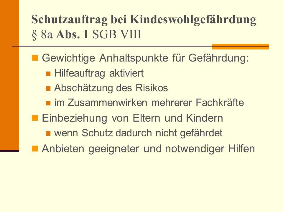 Schutzauftrag bei Kindeswohlgefährdung § 8a Abs. 1 SGB VIII