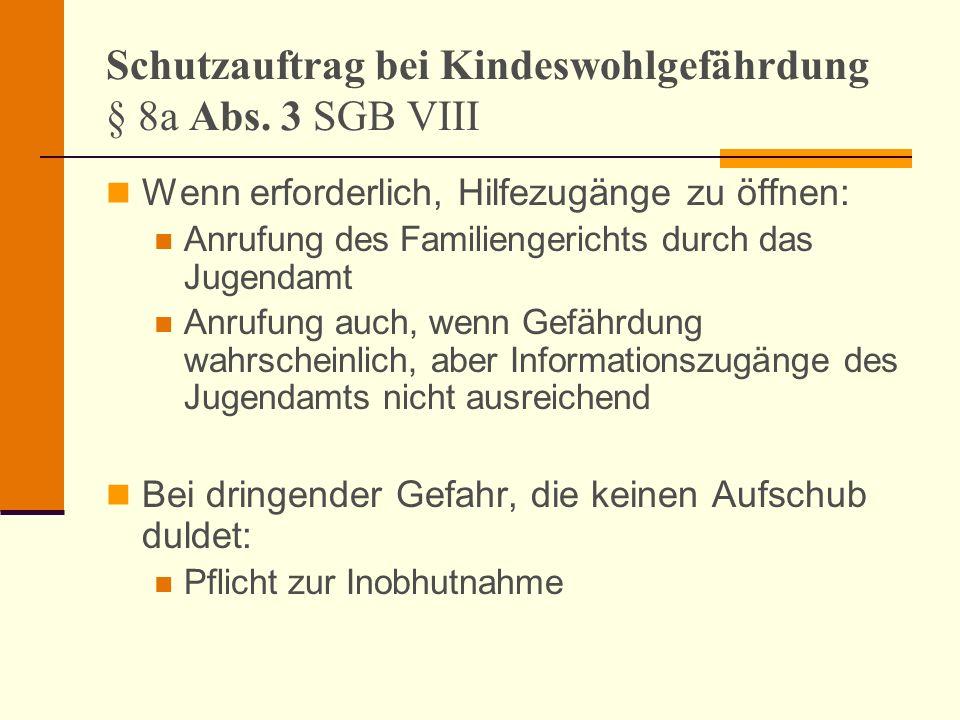 Schutzauftrag bei Kindeswohlgefährdung § 8a Abs. 3 SGB VIII