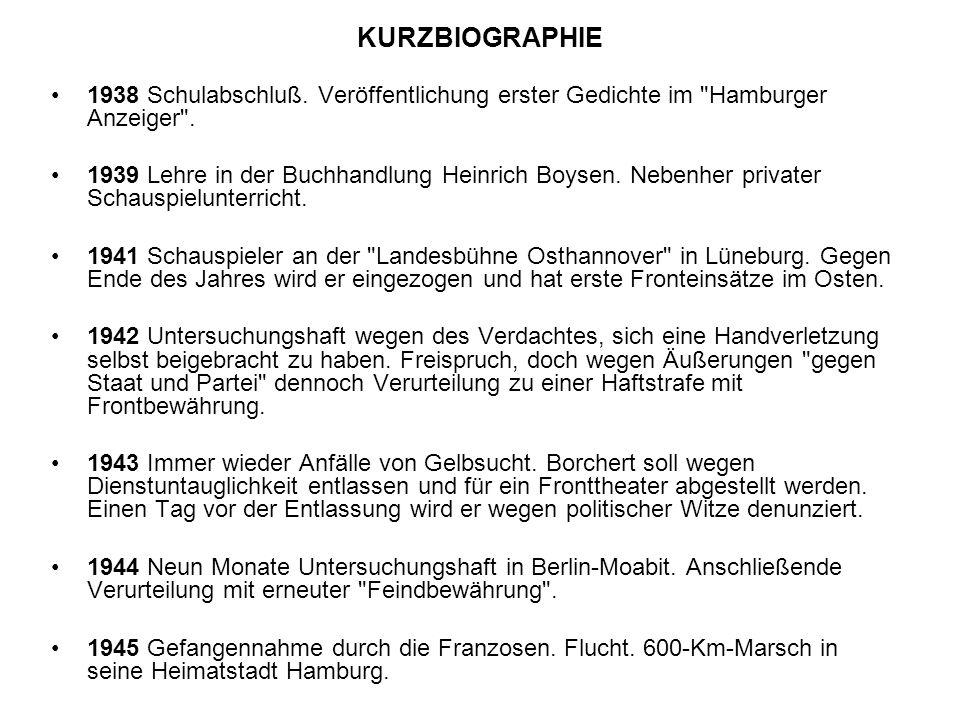 KURZBIOGRAPHIE 1938 Schulabschluß. Veröffentlichung erster Gedichte im Hamburger Anzeiger .