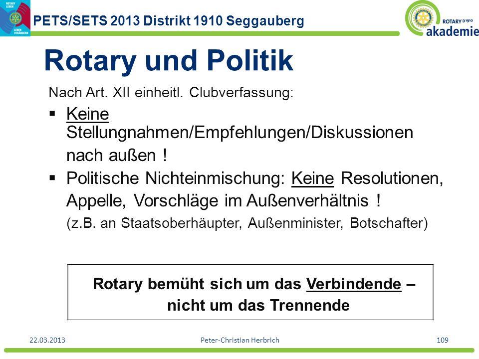 Rotary bemüht sich um das Verbindende –