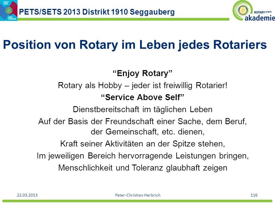 Position von Rotary im Leben jedes Rotariers
