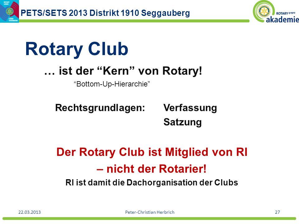 Rotary Club … ist der Kern von Rotary!