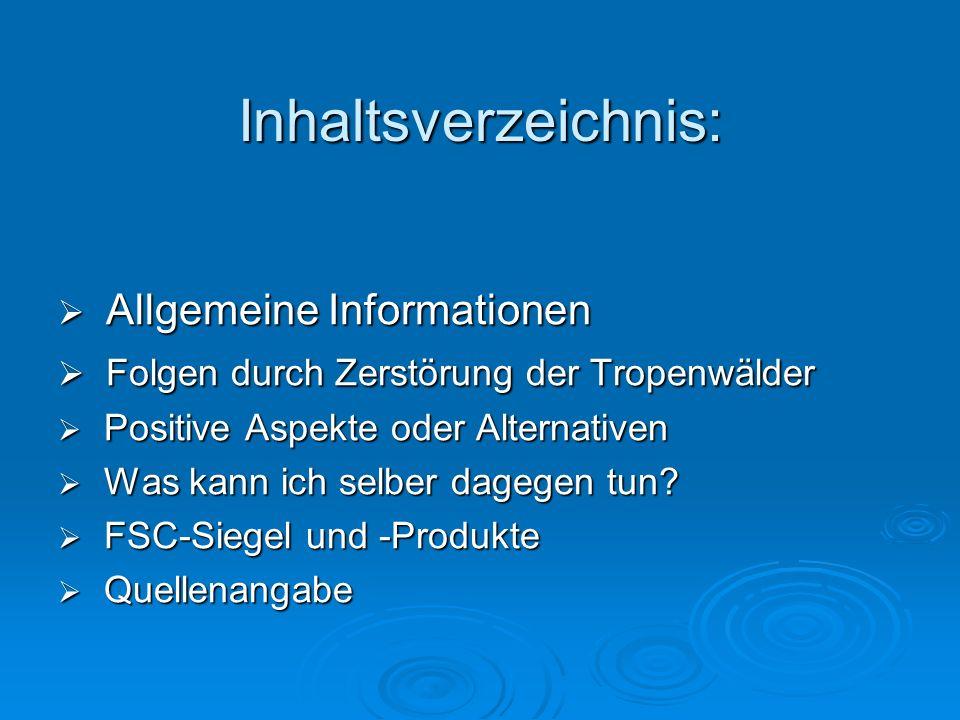 Inhaltsverzeichnis: Allgemeine Informationen