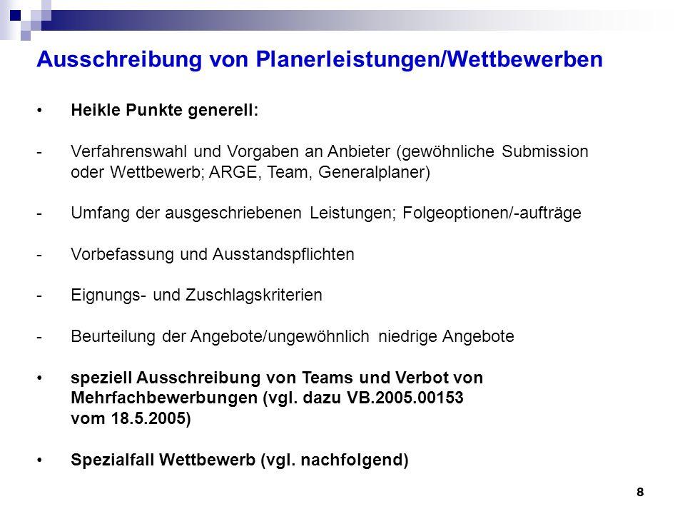 Ausschreibung von Planerleistungen/Wettbewerben