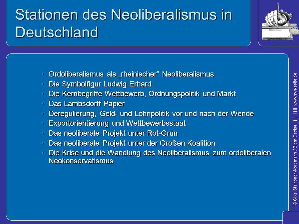 Stationen des Neoliberalismus in Deutschland