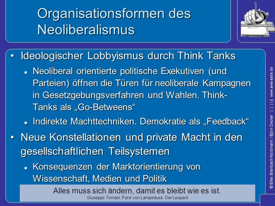 Organisationsformen des Neoliberalismus