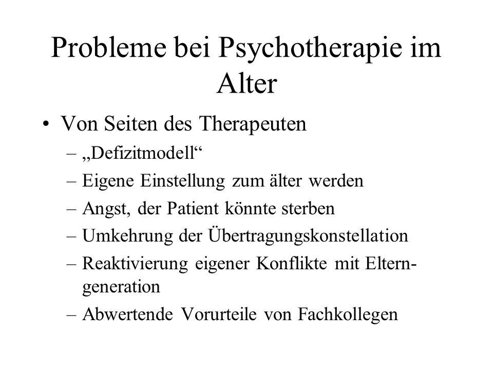 Probleme bei Psychotherapie im Alter