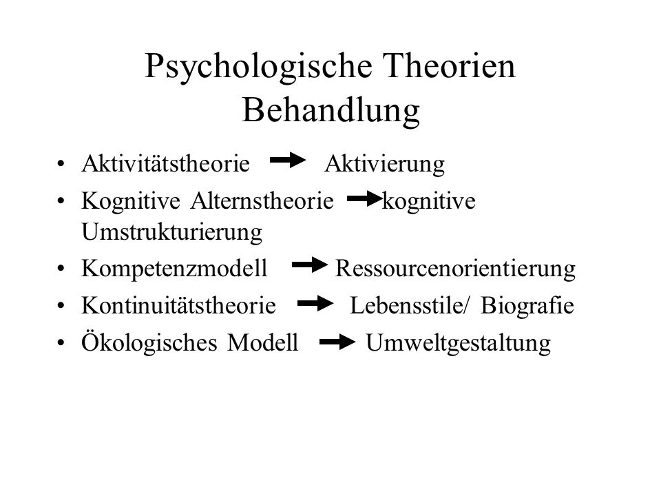 Psychologische Theorien Behandlung