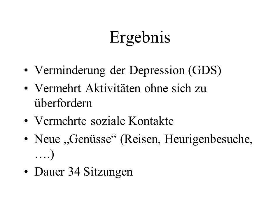 Ergebnis Verminderung der Depression (GDS)
