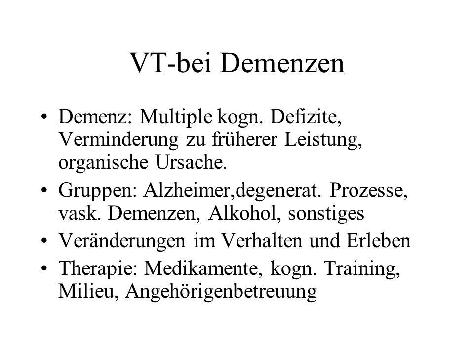 VT-bei Demenzen Demenz: Multiple kogn. Defizite, Verminderung zu früherer Leistung, organische Ursache.